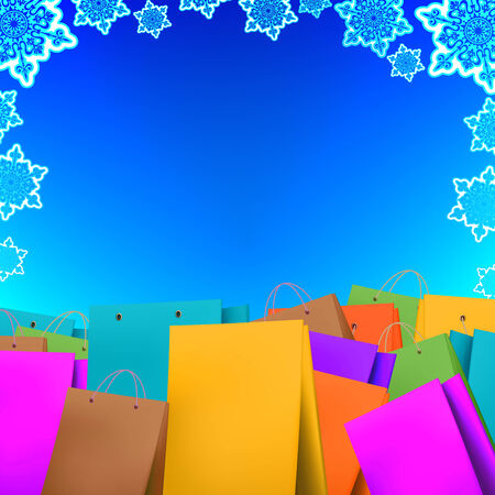 Winter Sale background with shopping bags photo