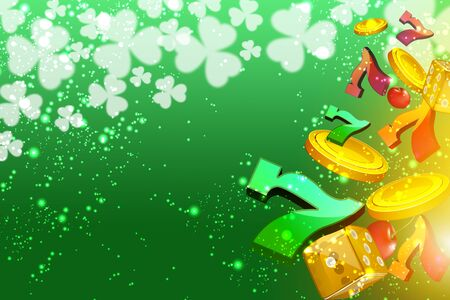 Lucky sevens, casino dice and coins flying at the viewer on a clover pattern background photo