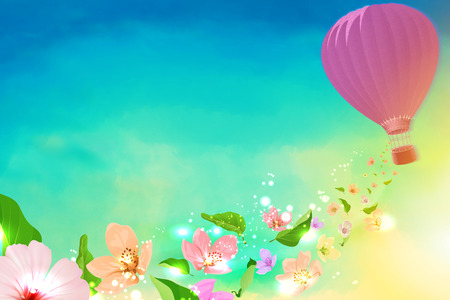 Hot air balloon with flowers flying from photo