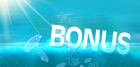 Bonus and casino coins diving in blue ocean background Imagens