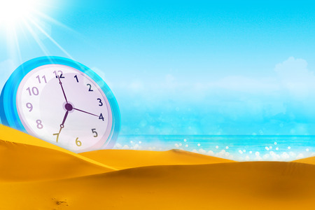summer time: Time concept. Summer time. Alarm clock on the beach