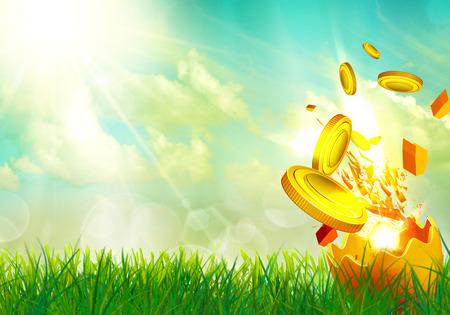 money flying: Dinero volando de una cáscara de huevo
