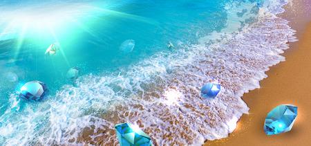 Wave of precious stones floating, symbolizing success and good profit Foto de archivo
