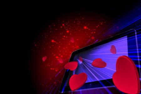 going out: Amore cuori uscendo da un tablet PC Archivio Fotografico