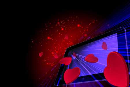 going out: Love Hearts going out from a Tablet pc Stock Photo