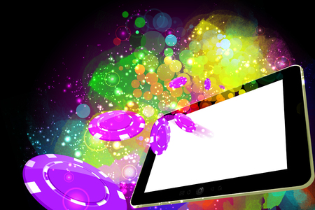 casino, online gambling, technology and casino concept - Casino coins falling out of the tablet pc   screen leading to success
