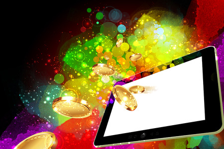 money falling: Money falling out of the tablet pc screen leading to success Stock Photo
