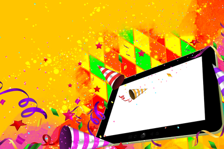 party horn blower: Confetti, streamers and a party horn falling out from a Tablet pc day party