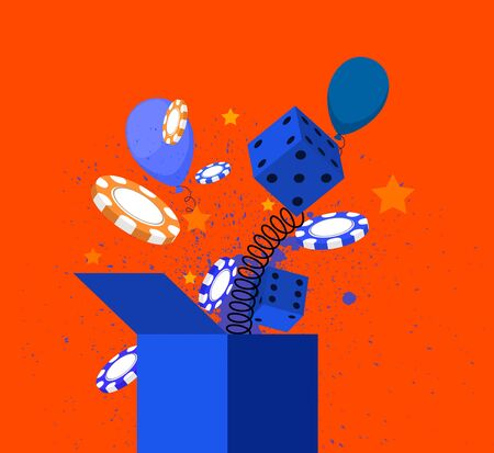 springing: 1 April fools day. Dice fools day springing out of a box