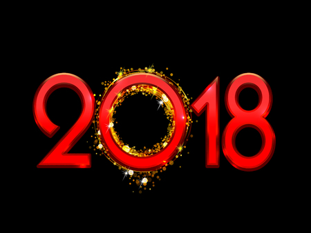 eight year old: 2018 Happy New Year bright red text on a black background Stock Photo