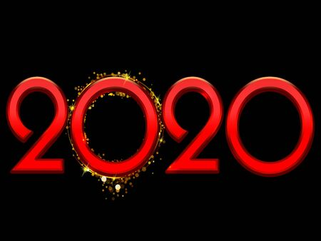 2020 Happy New Year bright red text on a black background