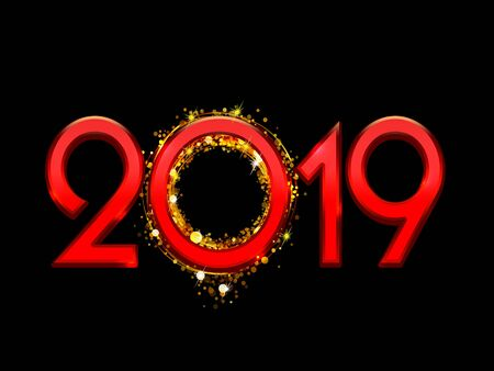2019 Happy New Year bright red text on a black background Stock Photo