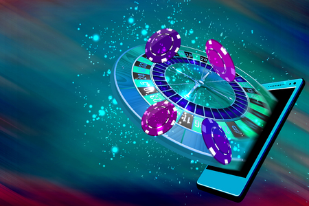 Mobile casino or roulette and casino coins flying out from a mobile 版權商用圖片 - 61397191