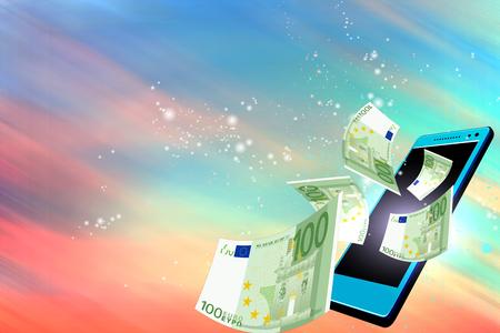 dinero volando: Dinero volando hacia fuera de un móvil