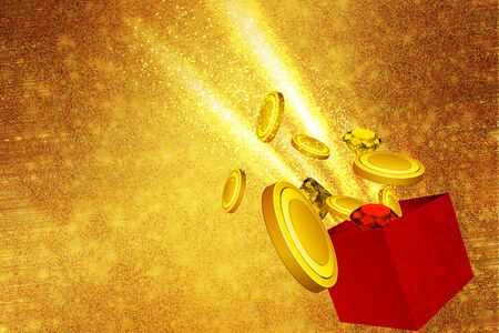 coming out: Christmas gift with glittering coins coming out of it