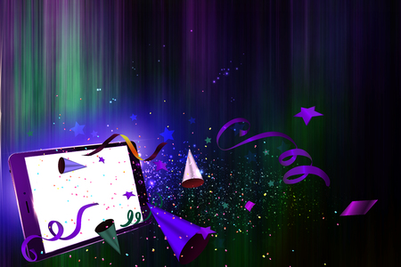 party horn blower: Confetti, streamers and party horn falling out from a Tablet PC night party