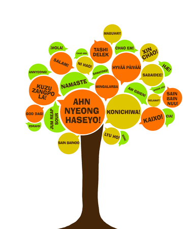 polyglot: Asian language tree. Say hello in different languages Stock Photo