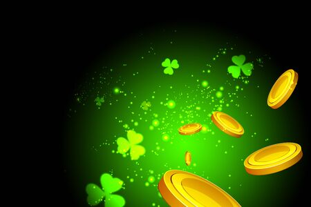 viewer: Lucky clovers, casino coins flying at the viewer on a green background