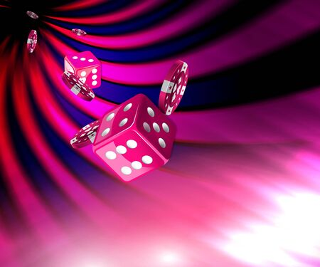 Pink dice game concept with Gambling chips flying