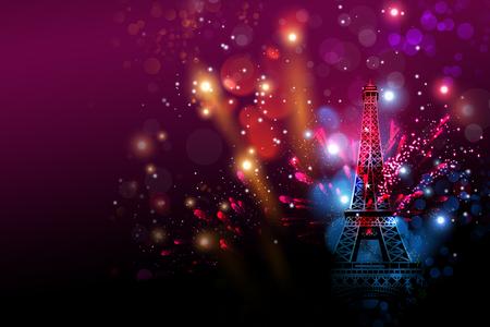 Happy fuegos artificiales de Año Nuevo en París con la torre Eiffel o celebración del día de Francia Foto de archivo - 62326109