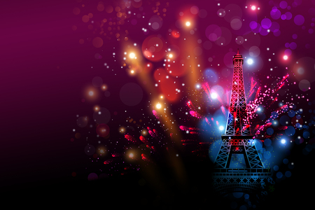 new year eve: Happy New Year fireworks Paris with Eiffel tower or France day celebration Stock Photo