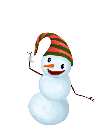 carrot nose: Isolated Funny Smiling Snowman with Hat and Carrot Nose dancing