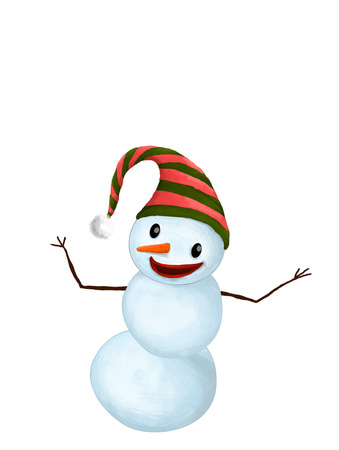 Isolated Funny Smiling Snowman with Hat and Carrot Nose showing something with his hands