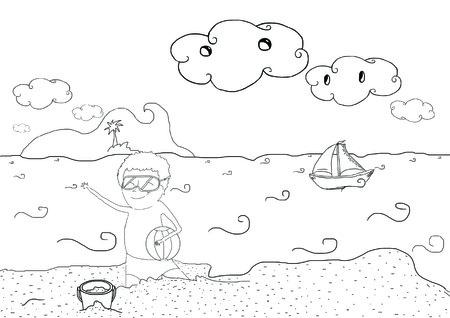 Plato De Dibujo Para Niños Con Paisaje De Playa De Vacaciones De ...