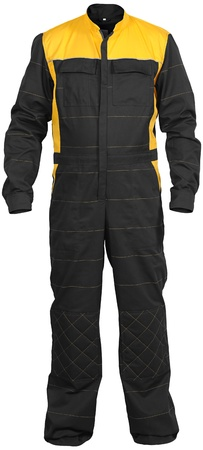 yellow-black male jumpsuit of mechanic isolated on white background