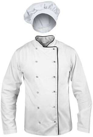 isolated male cook white suit with a hat