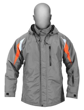 chaqueta: Chaqueta gris con capucha deporte masculino aislado sobre fondo blanco