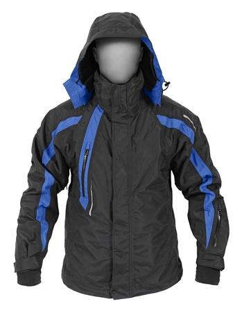 bata blanca: Saco negro con capucha deporte masculino aislado sobre fondo blanco