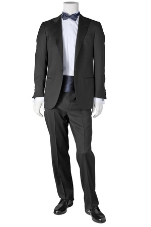 dinner wear: luxury black tuxedo isolated on white background