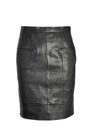 habiliment: luxury black leather skirt isolated on white background