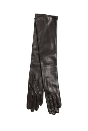 gloves women: luxury black woman leather gloves isolated on white background