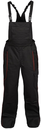 coverall: black male coverall pants with red strokes isolated on white