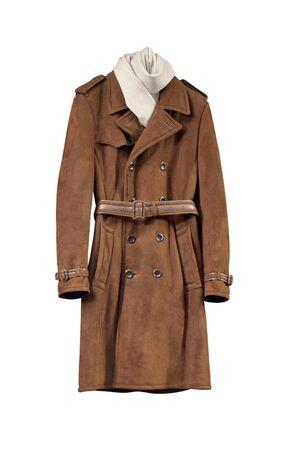 suede belt: Lujo chaqueta de cuero marr�n masculino aislado en blanco