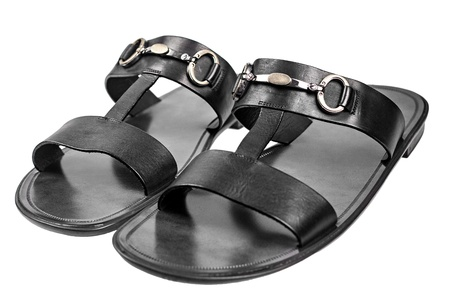 foot ware: Elegant male black sandals with metal buckles isolated on white background Stock Photo