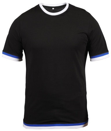 extracted: regular black male T-shirt with blue and white stroke isolated on white background Stock Photo