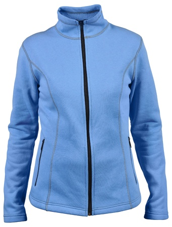 fleece: blue female sport jacket with isolated on white