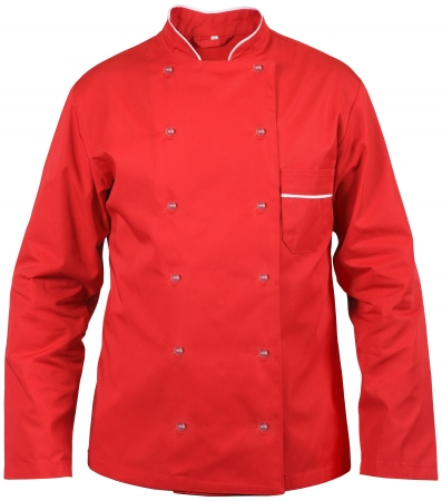 red chef male jacket isolated on white Stock Photo