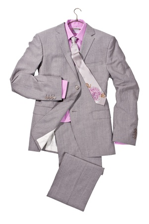 formal shirt: luxury gray male suit with pink shirt and tie with flowers isolated on white background Stock Photo