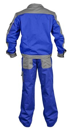 jumpsuit: Back side of blue-gray male worker s jumpsuit with jacket isolated on white background Stock Photo