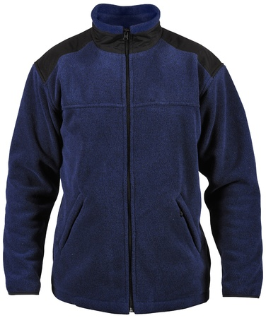 fleece: blue male sport jacket isolated on white