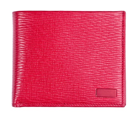 luxury red leather wallet isolated on white