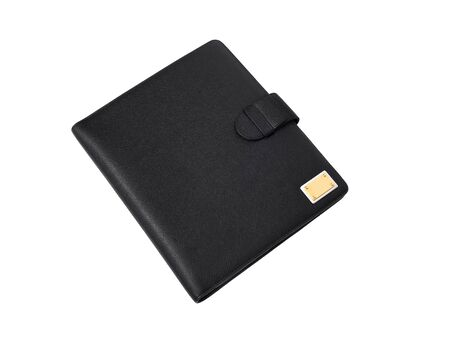 Luxury black leather wallet with golden buckle and side strap isolated on white background photo