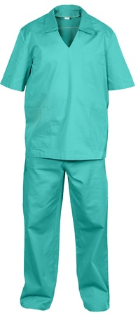 coverall: green medical uniform isolated on white