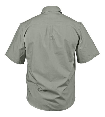 Back side of gray male shirt with breast pockets isolated on white background Stock Photo