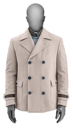 blazer: Luxury beige male cashmere jacket isolated on white Stock Photo