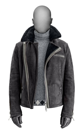 Luxury black male leather jacket isolated on white Stock Photo